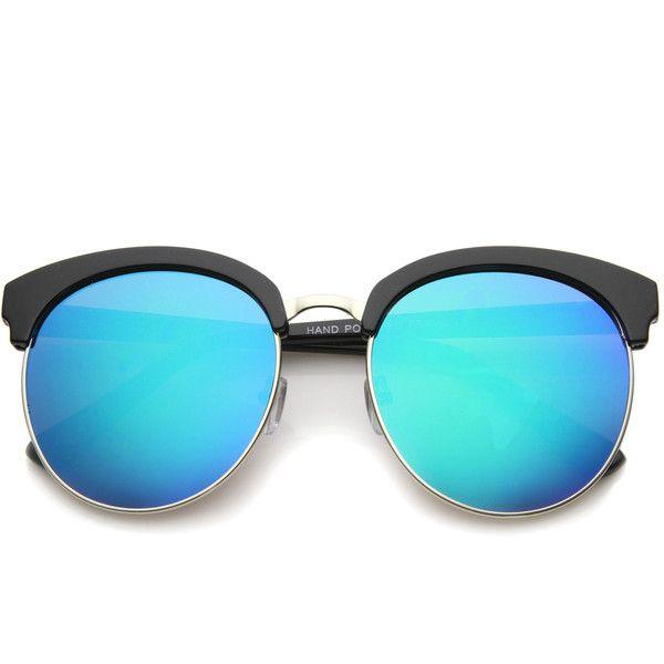 Oversize Round Horned Rim Half Frame Mirror Lens Sunglasses ($13 ...