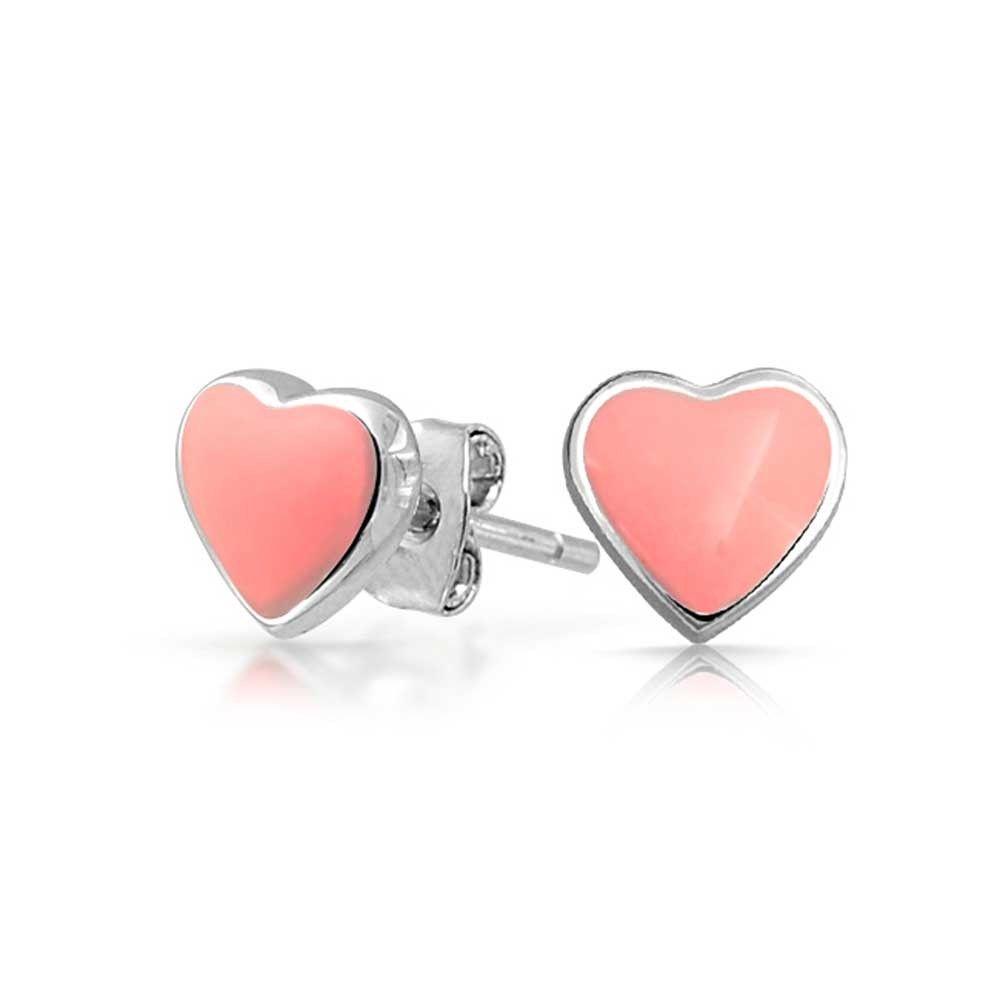 2e91a826c Kids Pink Enamel Heart Shaped Stud earrings 925 Sterling Silver 5mm ...