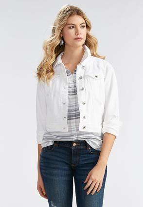 be7f3532cf98b Cato Fashions White Denim Jacket-Plus  CatoFashions