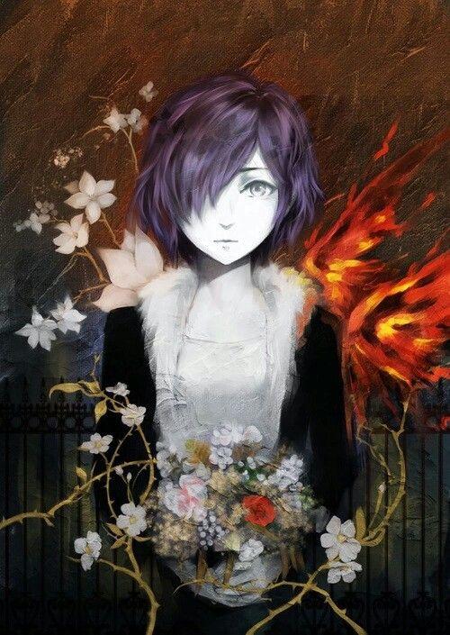 Anime | Girl | Tokyo Ghoul | Touka Kirishima | Fan Art | Flowers | Cute