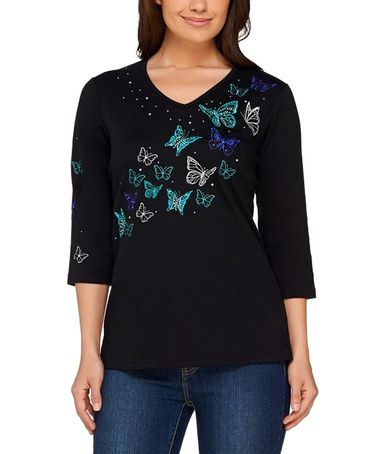 Another great find on #zulily! Black Embroidered Butterfly V-Neck Tee - Plus Too…