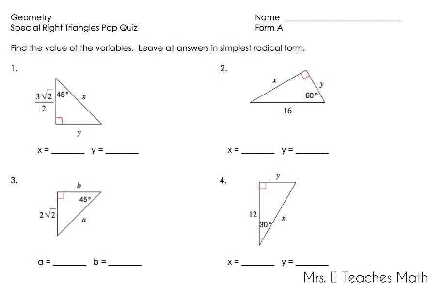 Right Triangles Unit Geometry Teaching Math Special