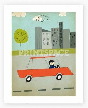 "Driving, Printspace Art Print, 8x10"""