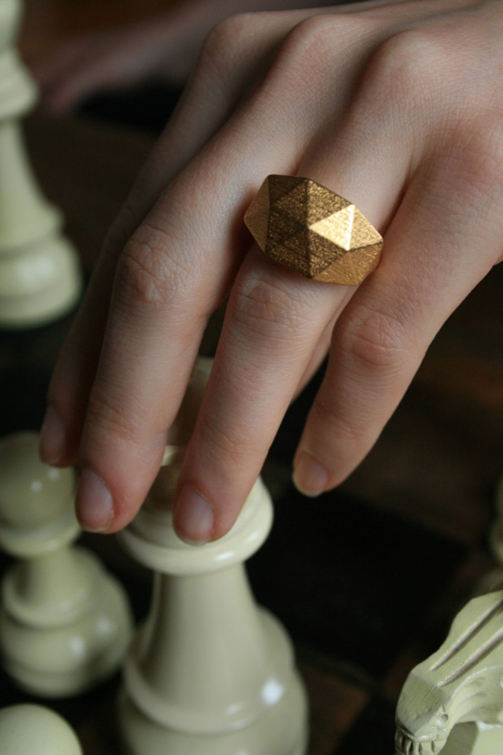 GEO RAW - Yellow gold faceted modern geometric 3D printed ring.