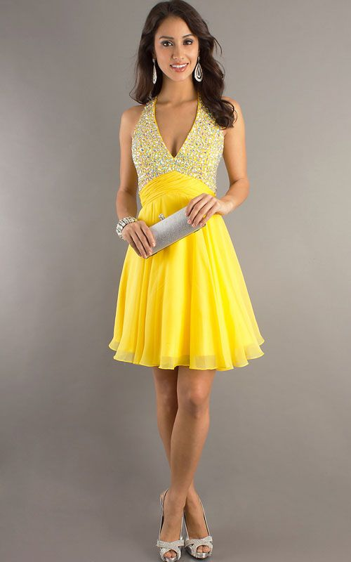yellow dresses | Yellow Homecoming Dresses Dave and Johnny 7661 For ...