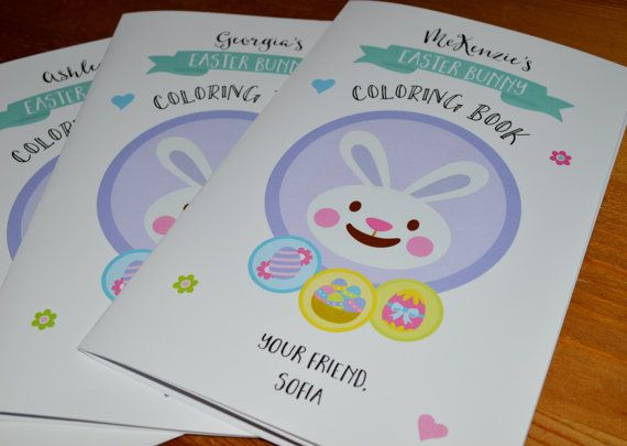 Personalized Easter Activity Book Bunny Coloring School With Crayons