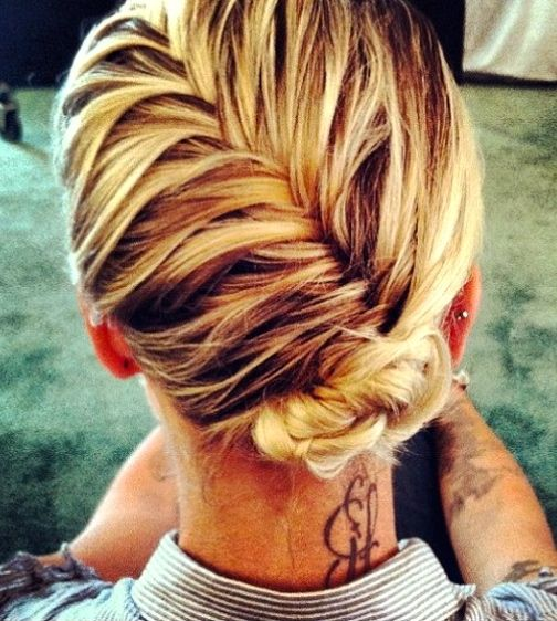 french fish tail. low bun. wish I knew how to do these things.
