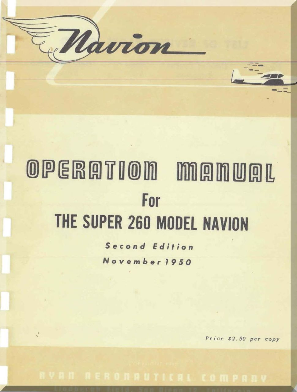 Ryan Navion Model Super  Aircraft Operation Manual