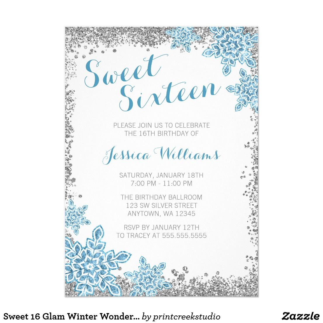Sweet Glam Winter Wonderland Silver Blue CardCelebrate Having A - Snowflake party invitation template