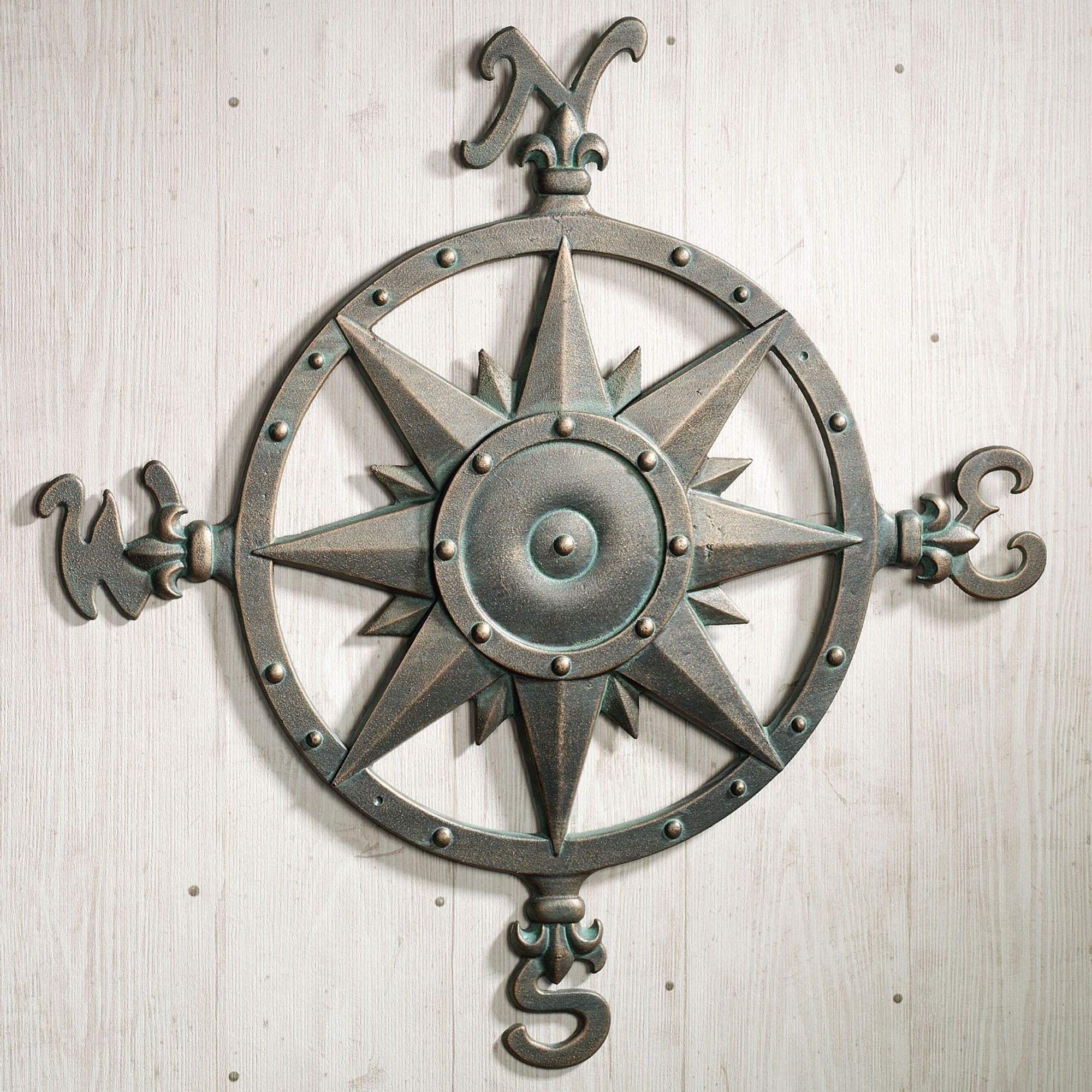 Round Iron Wall Decor Indoor Outdoor Nautical Compass Metal Wall Art  Metal Wall Art
