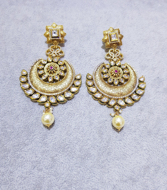 Jadau Chandbali Exclusive Kundan Polki Jadau Silver Chandbali Earrings Sabyasachi jewelry,Kundan Earrings,Polki Earrings Kundan Earrings