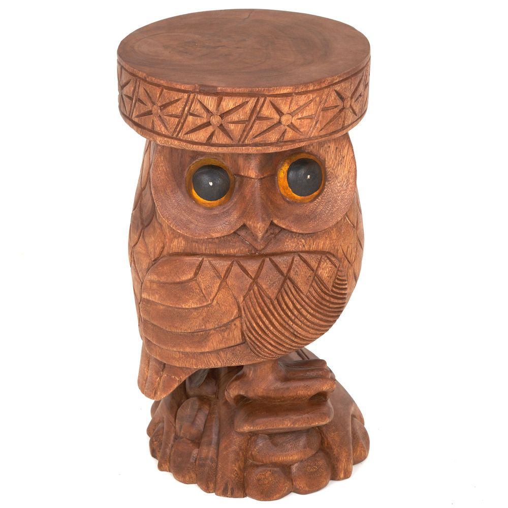 Fair Trade Hand Carved Owl Stool Side Table Ow 541 Stool