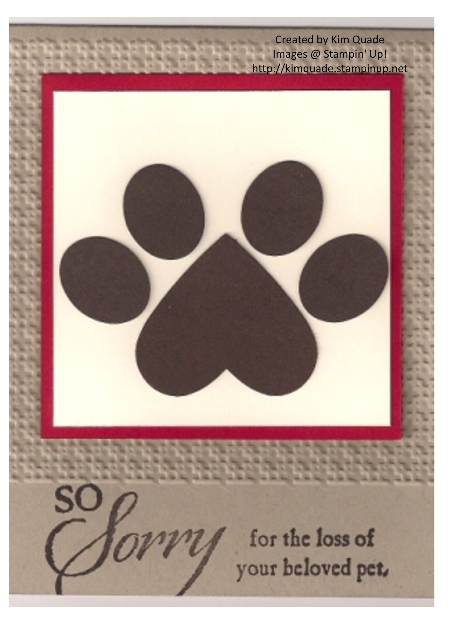 Dog Sympathy Card Created With Stampin Up Punches And So Sorry