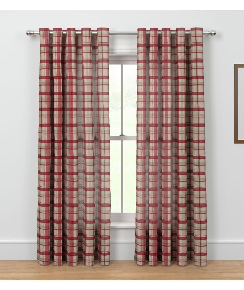 buy printed check unlined eyelet curtains 168 x 229cm red at argos rh pinterest com