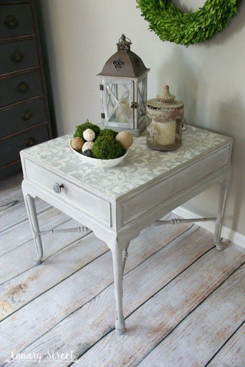 gray and white stenciled table white neutral stenciled table rh pinterest com