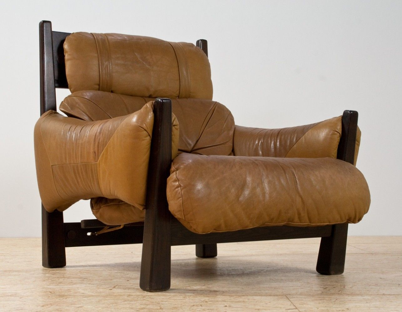 for sale brazilian modern lounge chair in camel coloured leather rh pinterest com