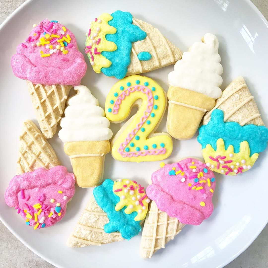 decorated shortbread cookies.htm ice cream 2nd birthday party decorated sugar cookies jendoebakes  ice cream 2nd birthday party decorated