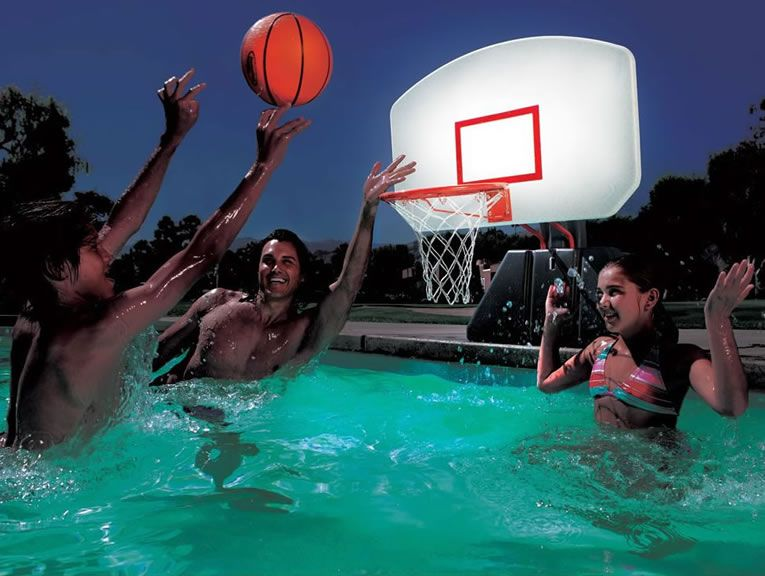 Lighted Poolside Basketball Hoop For Day Or Night Water Fun ...