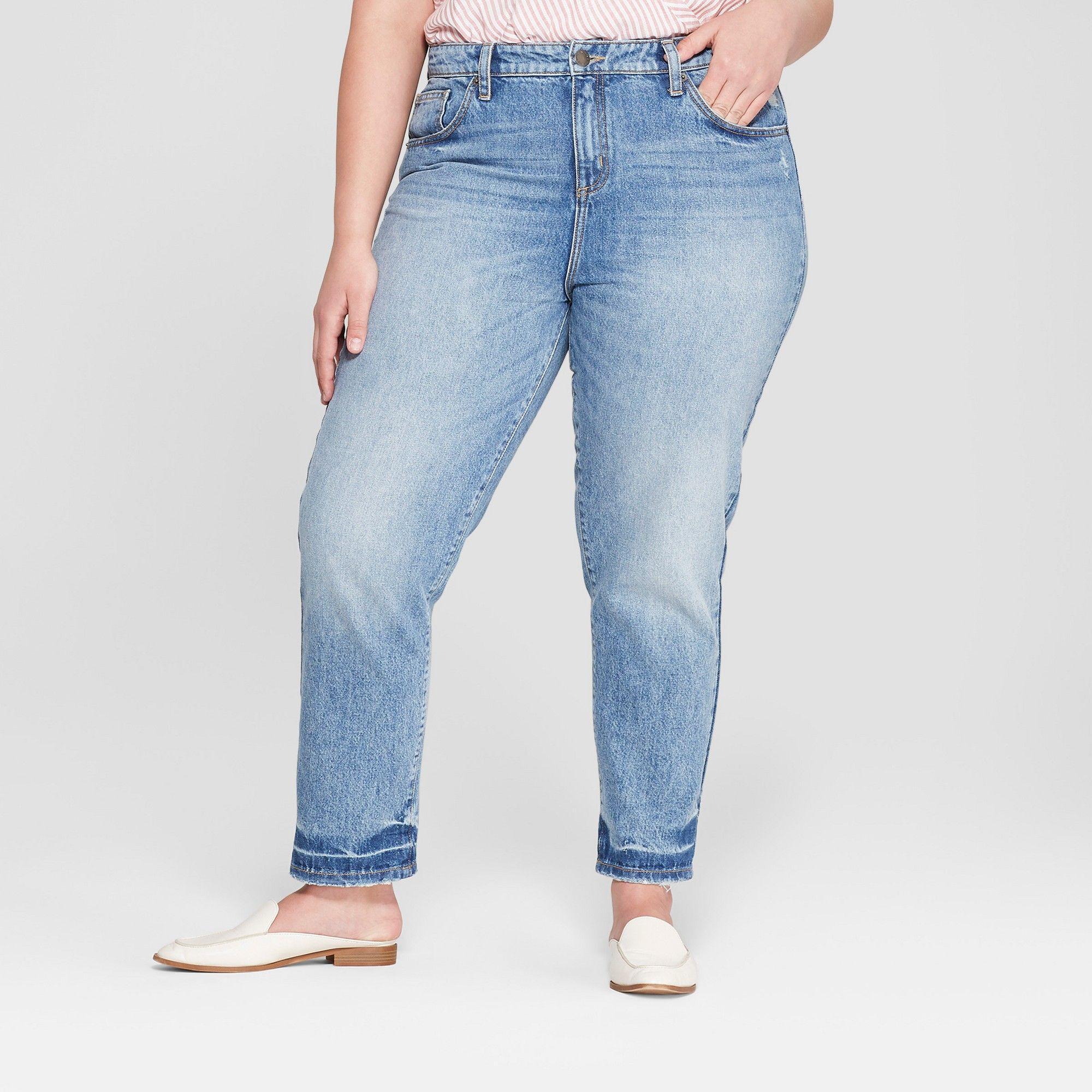 c98fb5c7a65 Women s Plus Size Raw Hem Straight Jeans - Universal Thread Light Wash 16W