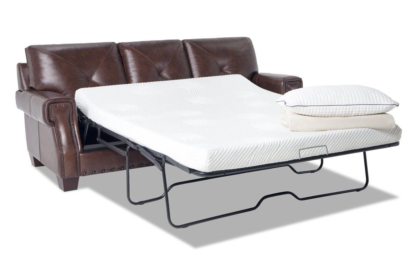 Kennedy Brown Leather Bob O Pedic Gel Queen Sleeper Sofa
