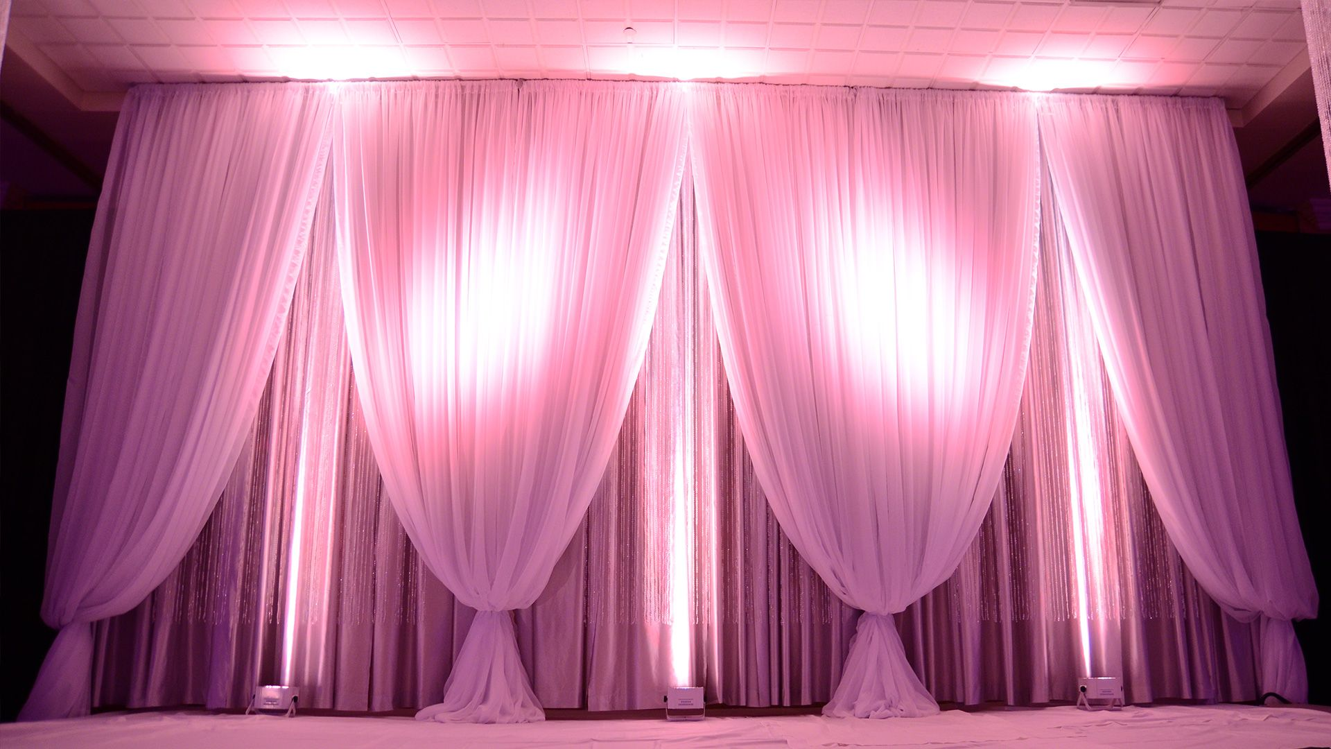 wedding stage decoration pics%0A Triple layer backdrop with iridescent beads   fabulousevents  gorgeous   draping  wedding
