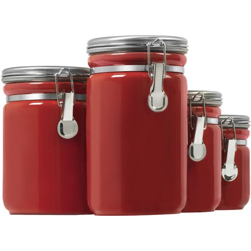 Ceramic Kitchen Canisters Red Set Of 4 Food Storage Containers