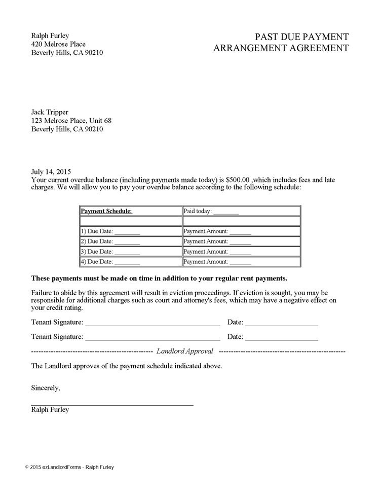 Past Due Payment Arrangement Agreement Ez Landlord Forms Being A Landlord Rental Agreement Templates Contract Template