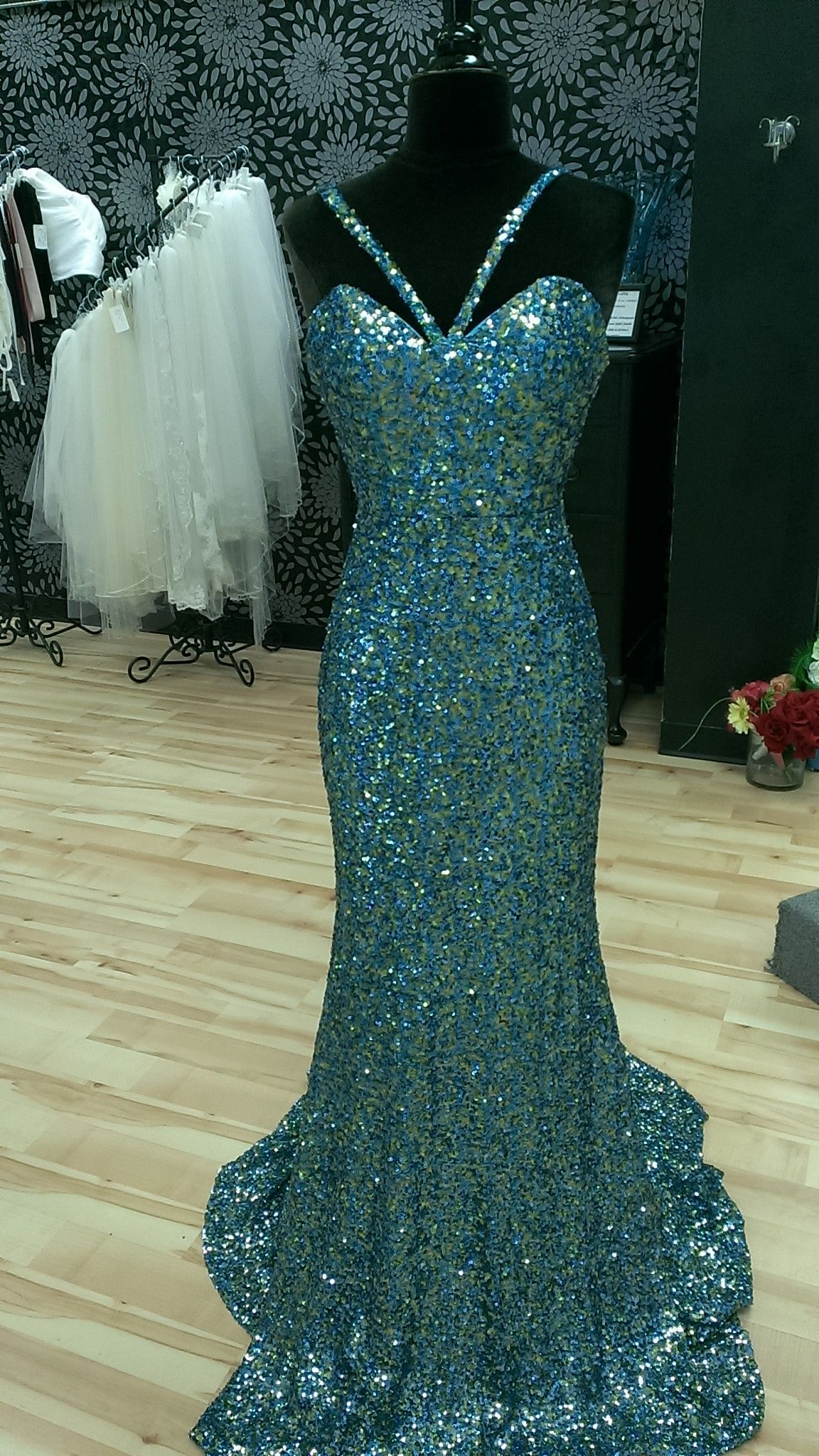 Blue and Green Sequined Prom Dress | Shop Bridal Cottage | Evening ...