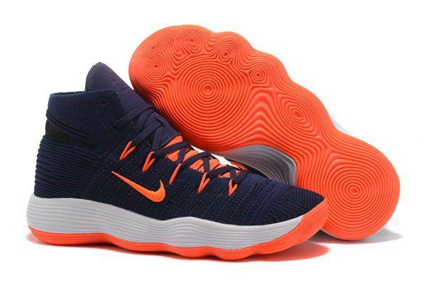 new styles 8f3d0 38f84 Nike Hyperdunk 2017 Fast Shipping Nike React Hyperdunk 2017 Flyknit Deep Blue  Orange Basketball Shoe For Discount