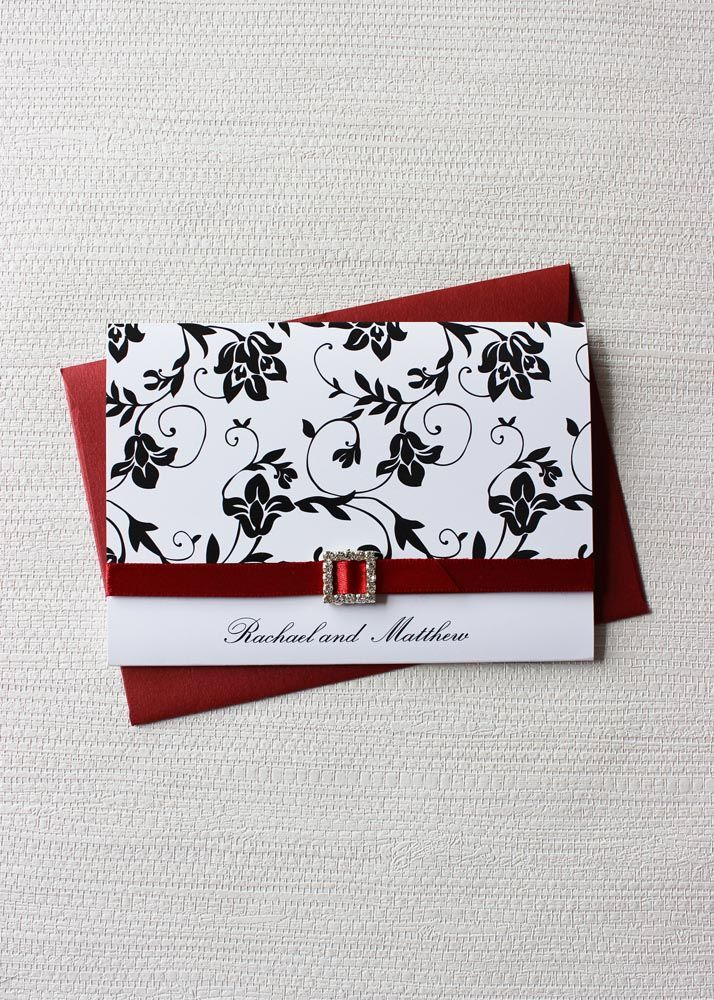 rich red black and white wedding invitation