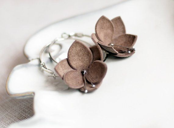 Photo of Leather earrings in latte brown. Handmade leather jewelry. Womens gift under 15.