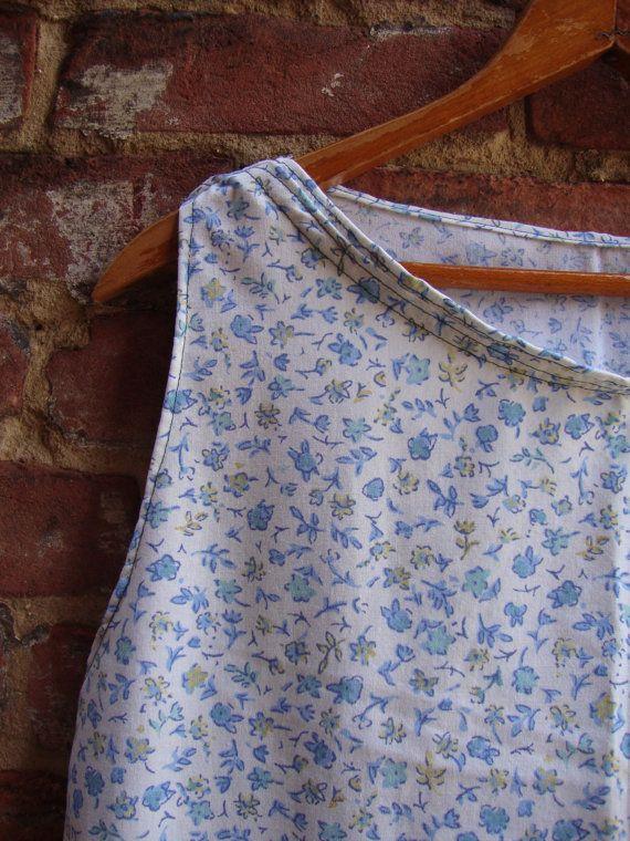 Blue Calico Shift Dress/ Womens Dress/Tunic by RebirthRecycling, $55.00