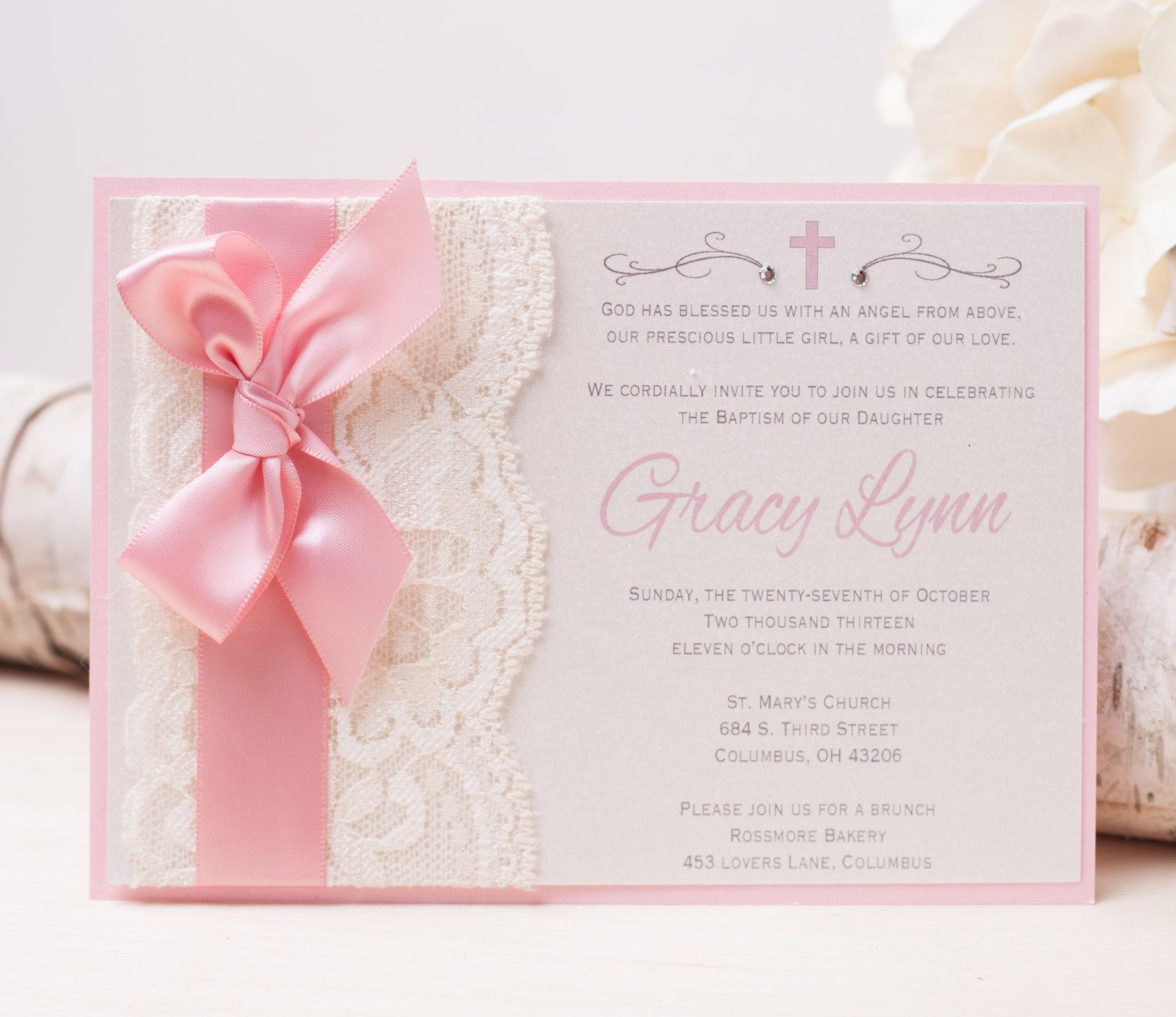 invitation wedding wording gifts%0A GRACY  Pink Lace Baptism Invitation   Christening Invitation   Religious  Invitation   Baby Shower