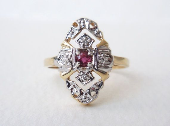 Vintage natural ruby and diamond 10k yellow and white gold