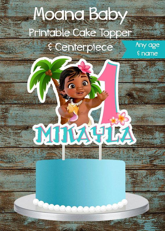 Moana Baby Cake Topper Moana Cake Topper Printable Moana Centerpiece Moana Birthday Party Decorations Moan Moana Cake Baby Cake Topper Moana Birthday Party