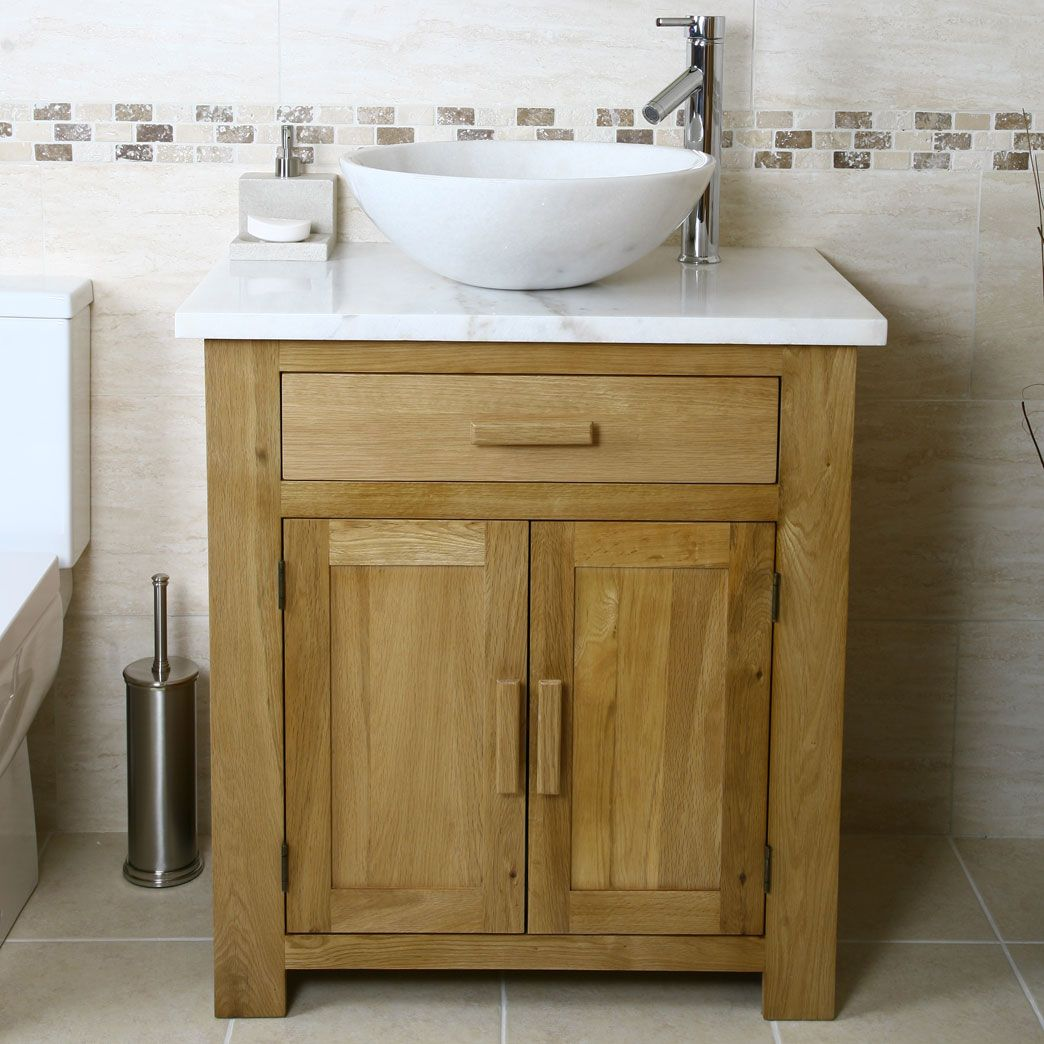 Oak Vanity Unit with White Marble Top Bathroom Prestige