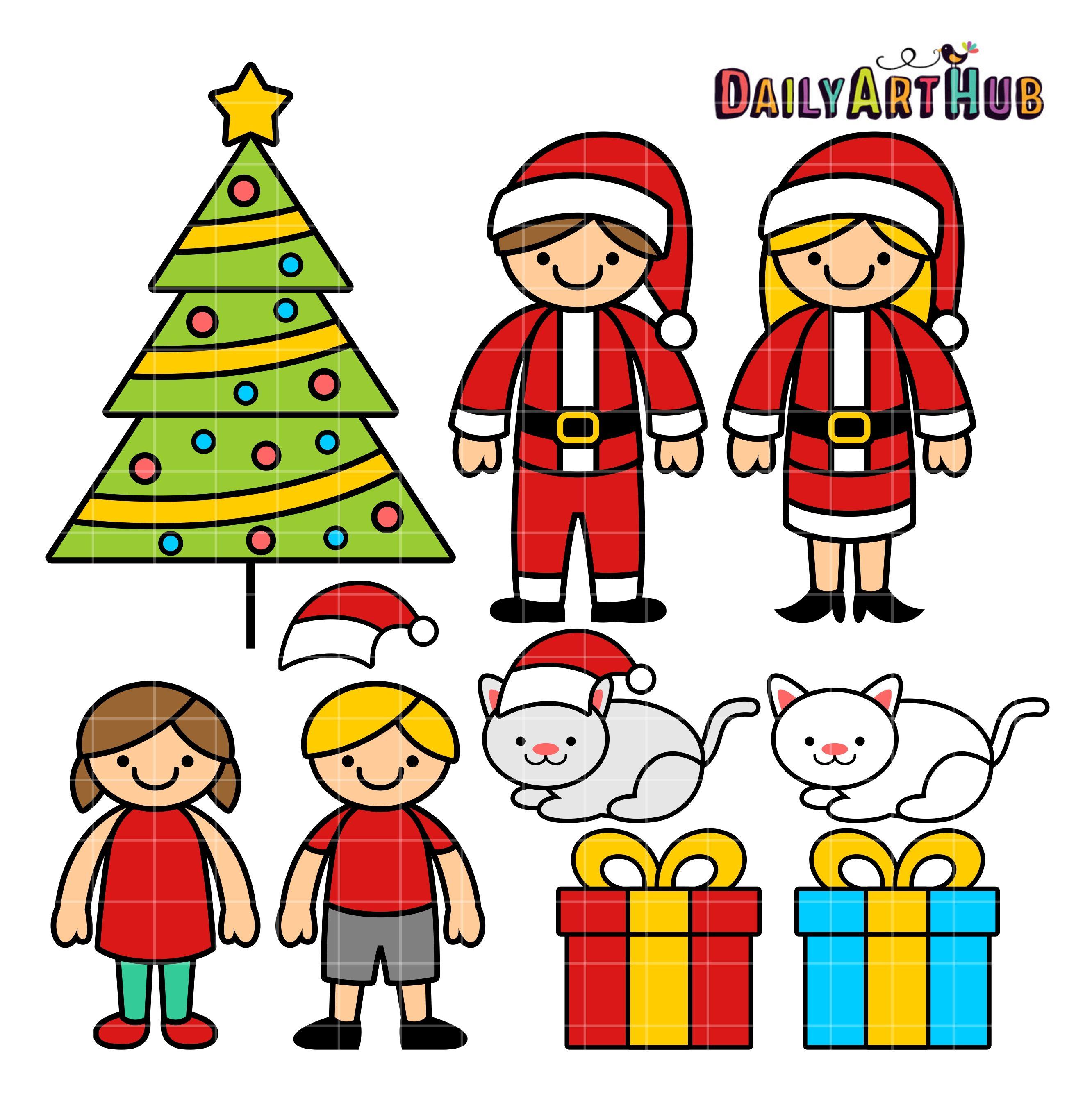 Free Christmas Family Clip Art Set Family Drawing Christmas Family Photos Family Christmas