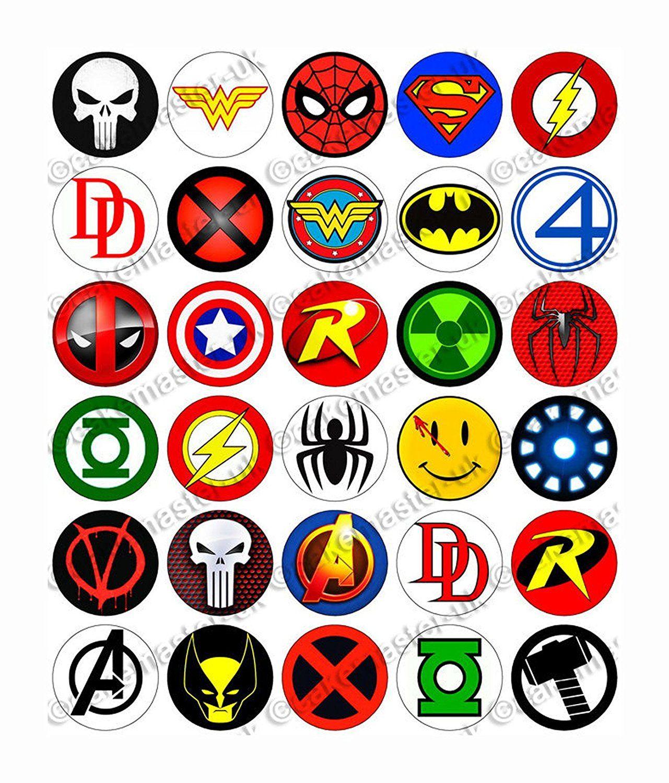 30 x superhero logos party edible rice wafer