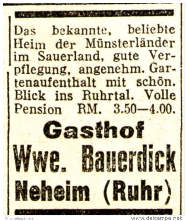 Original Werbung Anzeige 1933 Gasthof Wwe Bauerdick Neheim