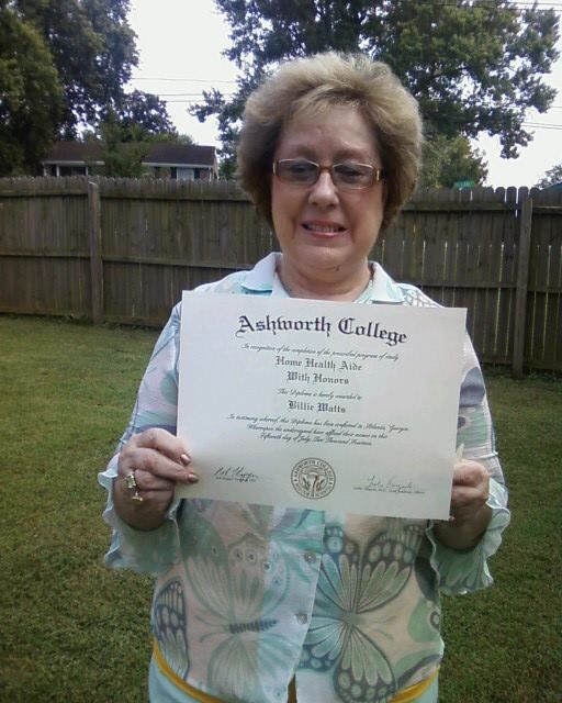 Congratulations To Billie Watts She Recently Graduated From Our Online Home Health Aide Program With Honors Awesome Work Home Health Aide Home Health College