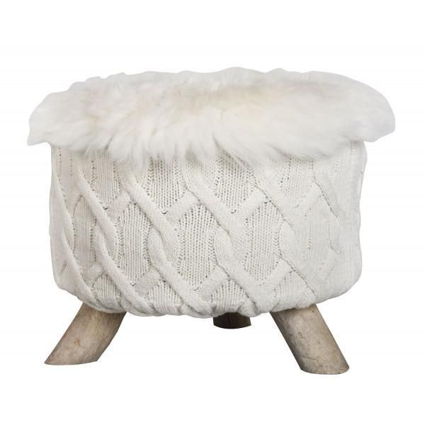 pouf bois flotte tricot torsade mouton blanc mon chalet design