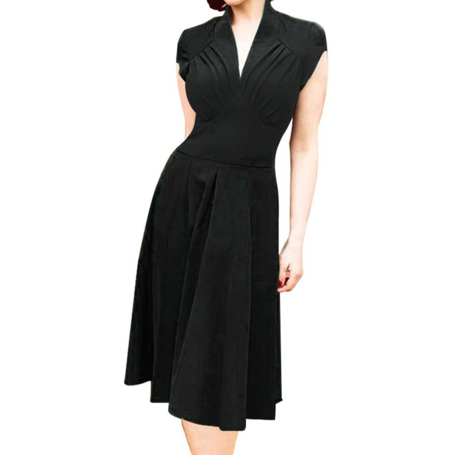 5194fdcf45ade0 Sultry 1940s-inspired raven a-line dress with a deep v neckline, ruched  bodice and wide high waist. Lovely cap sleeves, softly pleated skirt.  Unlined.