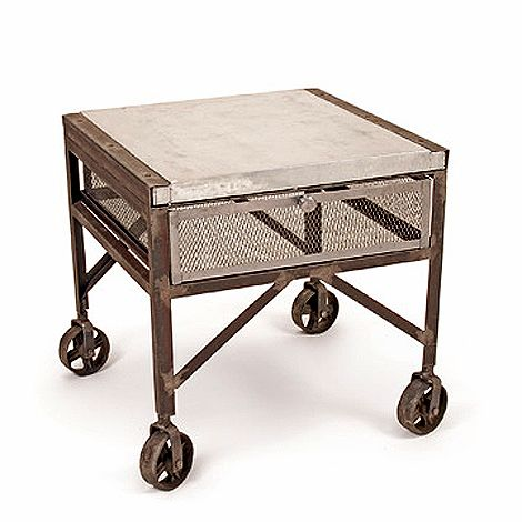 Industrial Galvanized End Table Vintage Industrial Furniture