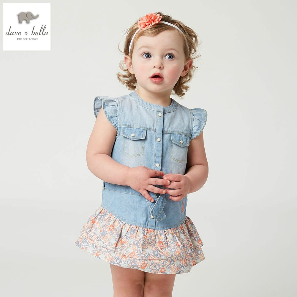 96d4c4e18cd4 DB5050 dave bella summer baby girl floral splicing sleeveless dress ...