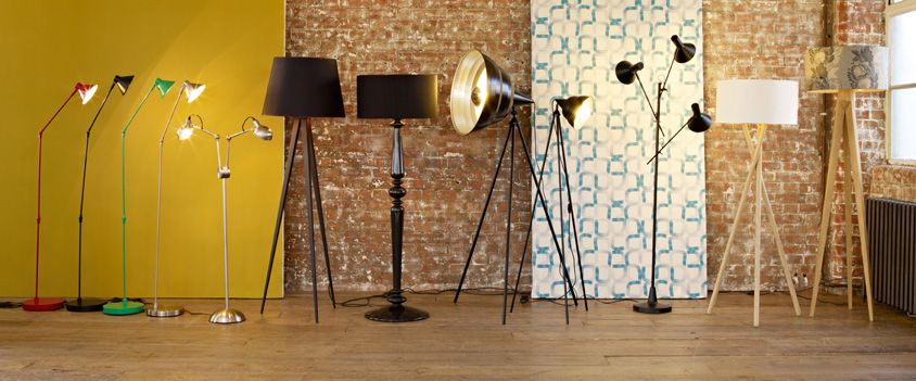 Floor lamps in varying styles, colours and sizes.