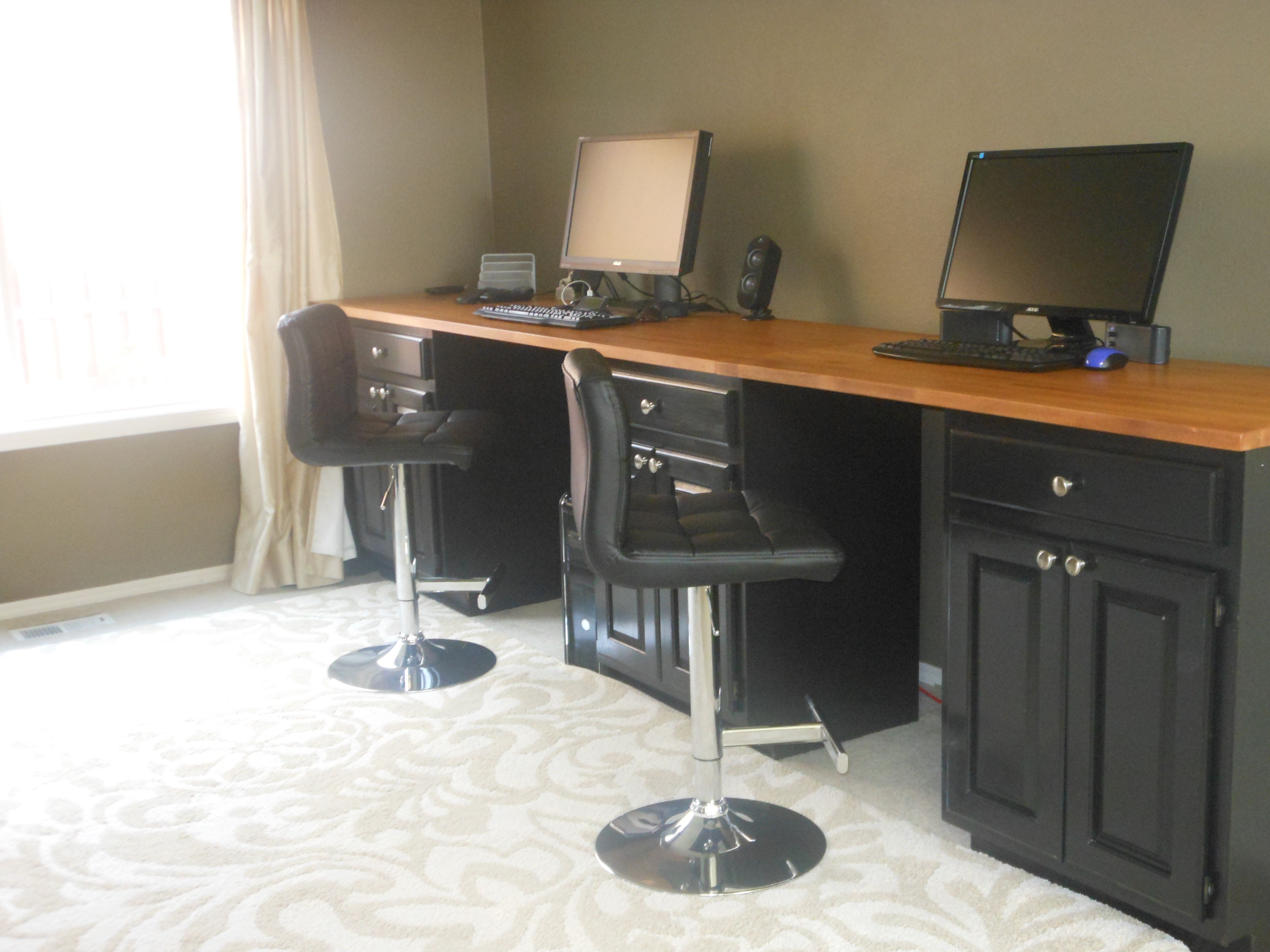 Standing Computer Lab Desk Made From Old Painted Kitchen Cabinets