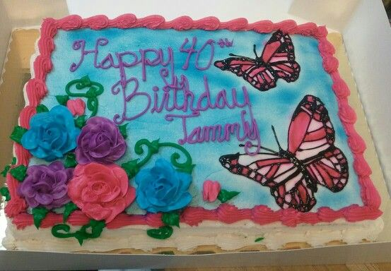 Butterflies And Roses Sheet Cake Birthday Cake With Flowers Butterfly Birthday Cakes Lady Bug Birthday Cake