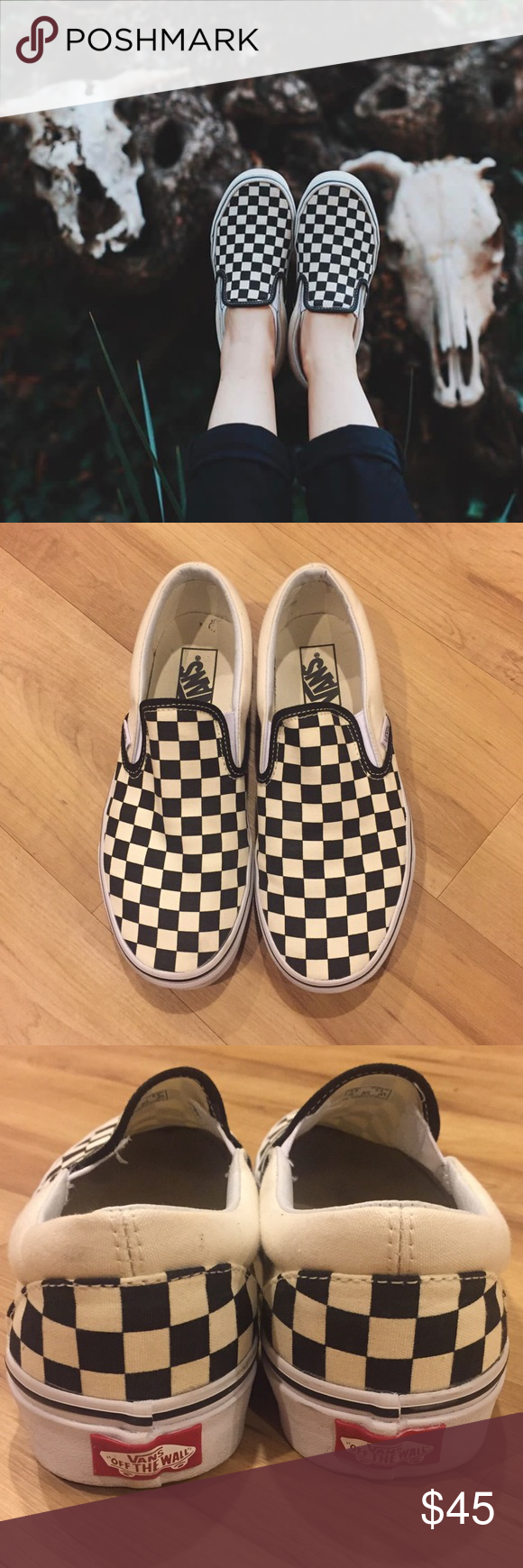 1531130aca90 Vans Classic Slip On Checkerboard Classic Slip On in Black and White  Checkerboard. Worn twice. Mens 7 Womens 8.5  ) Cheaper on Depop ( kayahhe)! Vans  Shoes ...