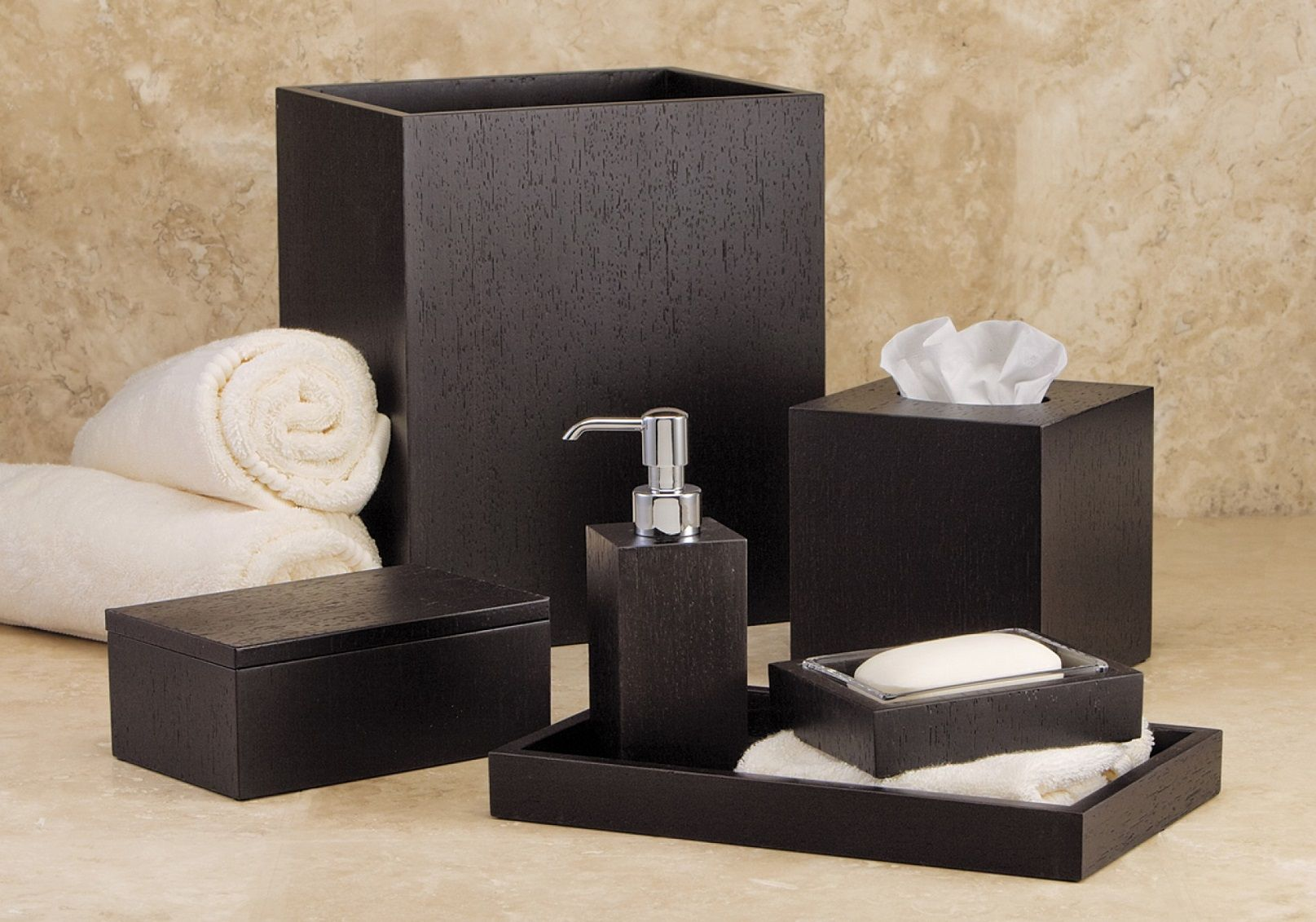 Decorative Bathroom Accessories For Hotel Project: Italian Wenge Hotel Bathroom Accessories Set