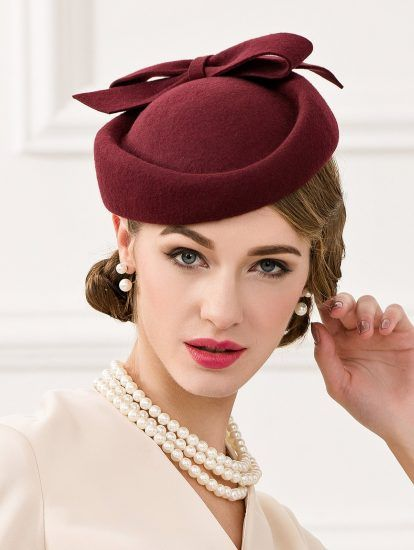 42768052561d3 Wine Red Vintage Wool Fashion Elegant Hat for Women in 2019 ...